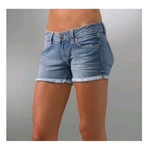 PAIGE Medium Wash Silver Lake Cutoff Denim Short
